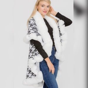 Luxury Houndstooth Faux Fur Double Layer Cape Coat
